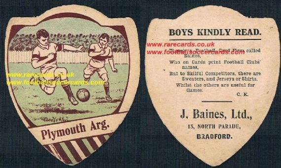 1914 Plymouth Argyle Baines poetry rhyme card